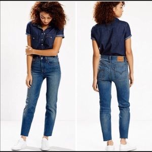 Levi High Rise Wedgie Fit White Icon Raw Hem Jean